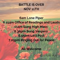 An image of poppys with a text overlay outlining the events at salford cathedral on 11th november