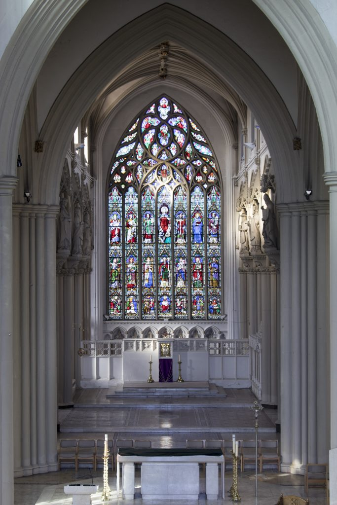 An image of the altar and sanctuary from the choir balcony