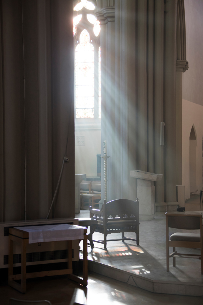 image of the light as it streams through the altar window