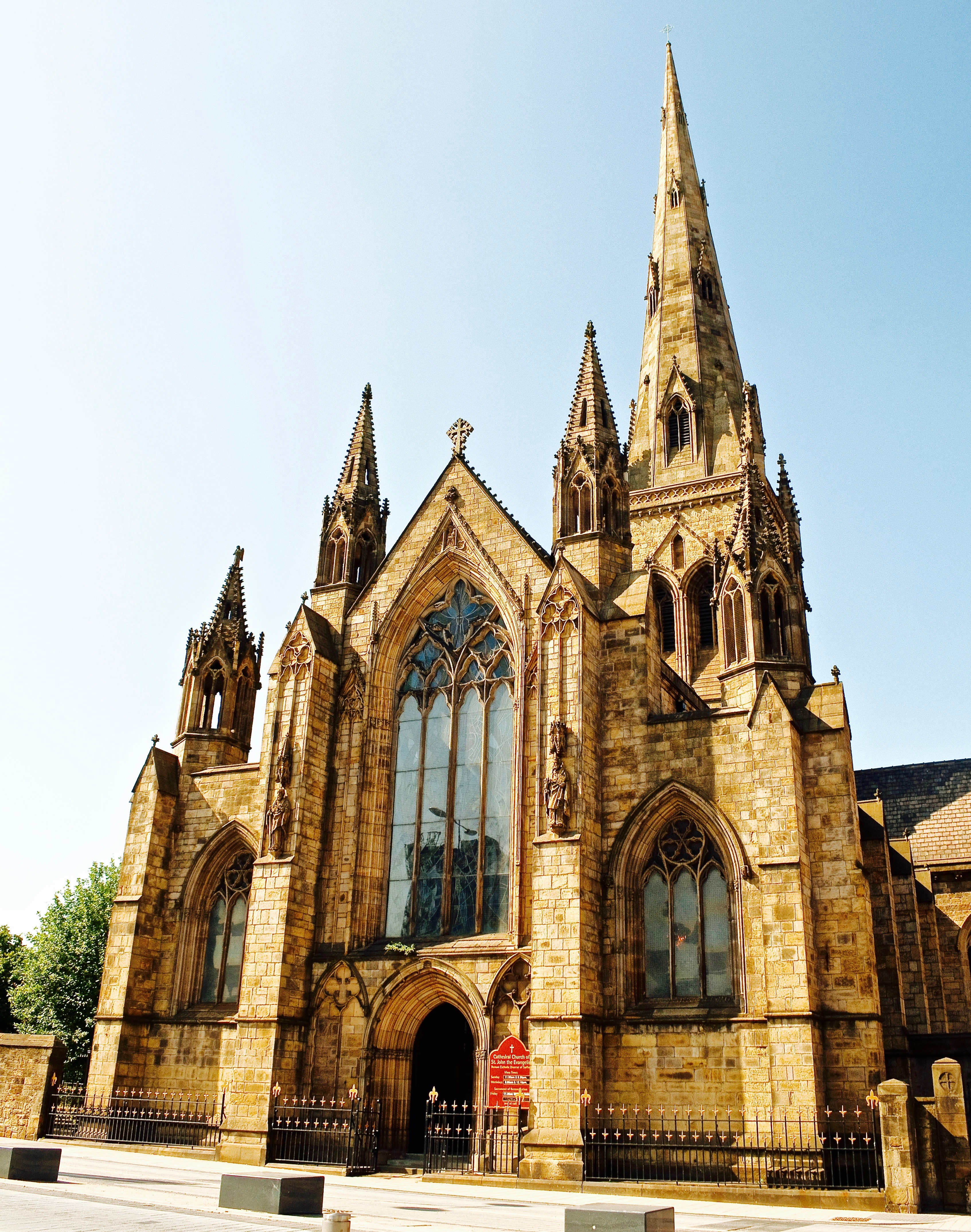 A photo of Salford Cathedral, St.John the Evangelist, from Salford Crescent, Greater Mancehster
