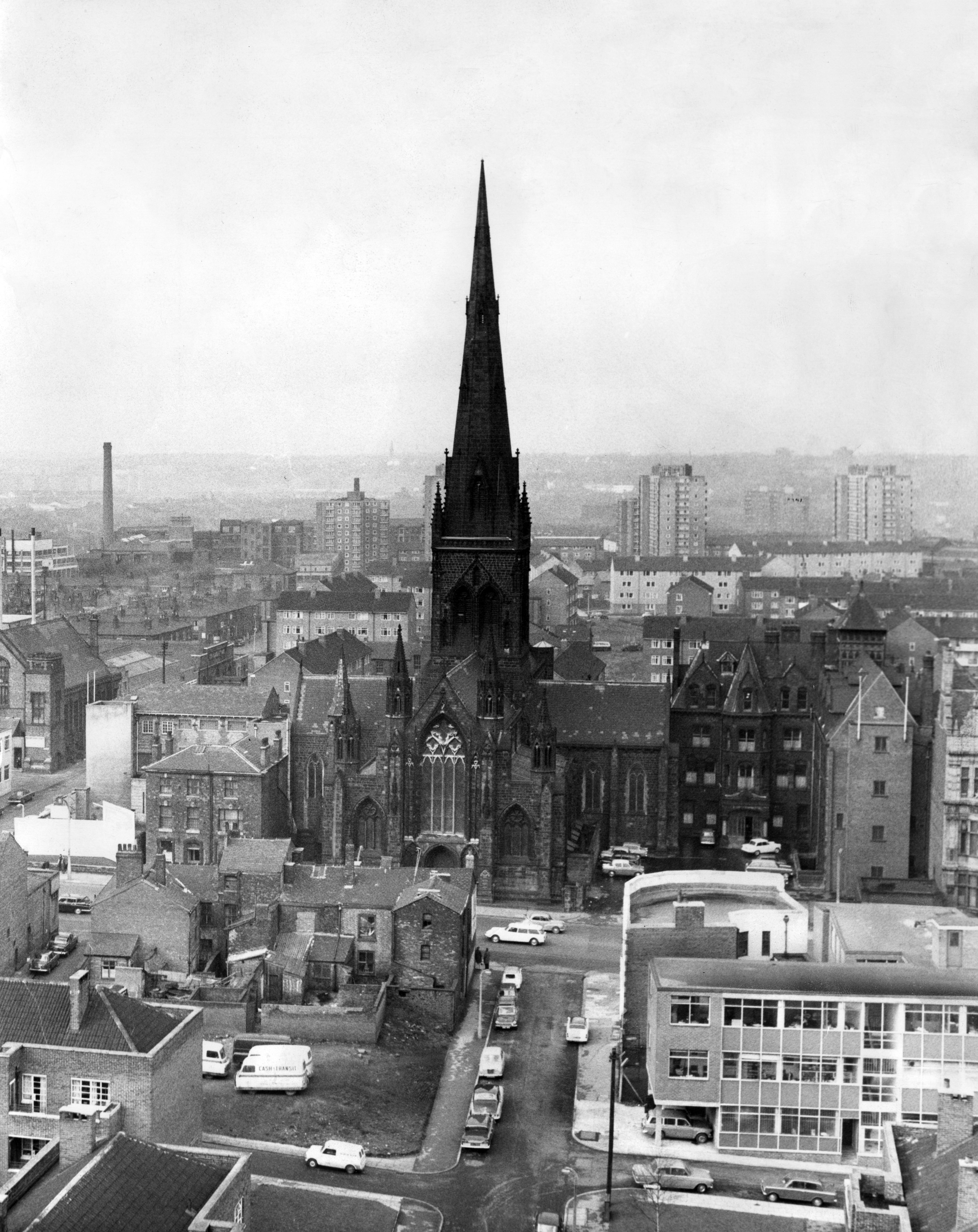 A Photo of Salford Cathedral, Manchester. 24th June 1967. The Cathedral Church of St. John the Evangelist, usually known as Salford Cathedral, is a Roman Catholic cathedral in the City of Salford in Greater Manchester, England.