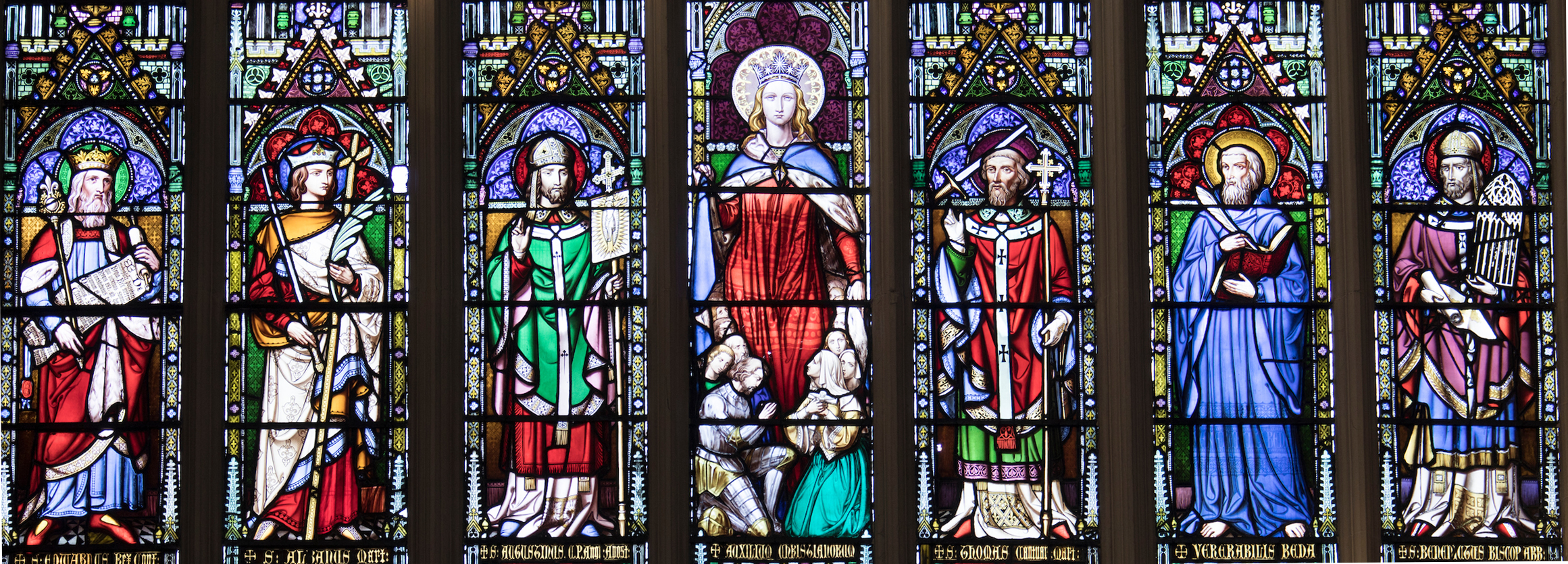 A Photo of A zoomed in look at Mary Row on our incredible stained glass window